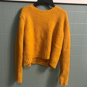 urban outfitters cropped mustard sweater